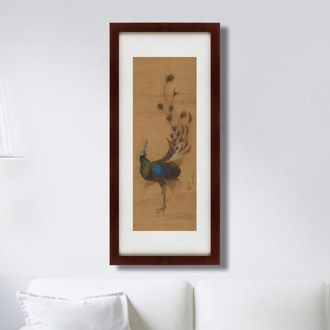 Мори Сосэн - Павлин, японская литография, 18 век