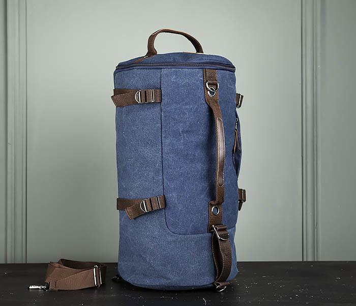 BAG309-4 Вместительная мужская сумка -рюкзак из ткани синего цвета