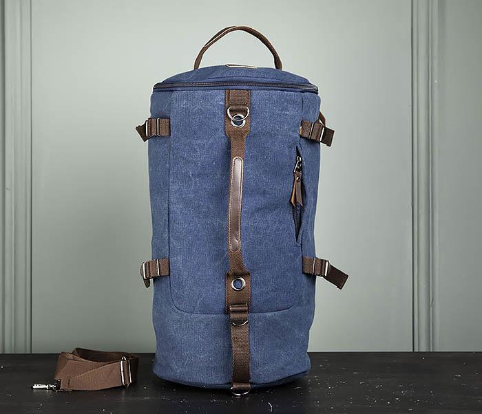 BAG309-4 Вместительная мужская сумка -рюкзак из ткани синего цвета фото 02