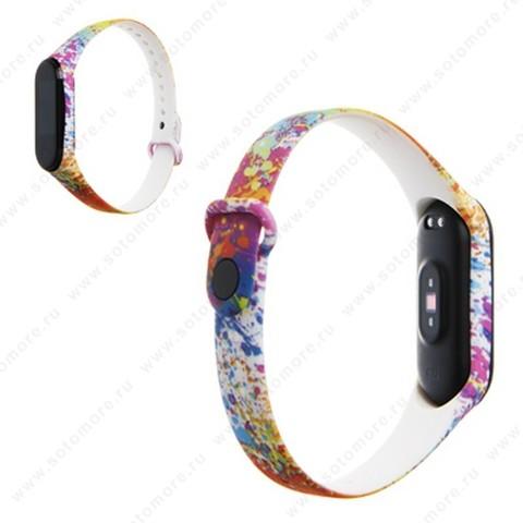 Ремешок для фитнес-браслет Xiaomi Mi Band 3/ 4 силиконовый с рисунком Вид 27