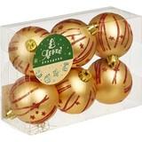 Новогоднее украшение набор из 6 шаров, d=6см, золотой с красным рис., 16534