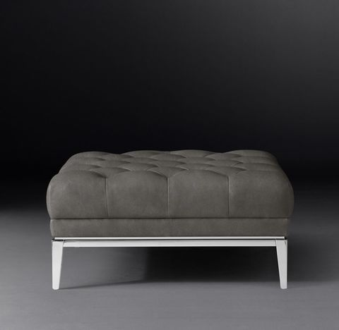 Italia Chesterfield Leather End-of-Sectional Ottoman