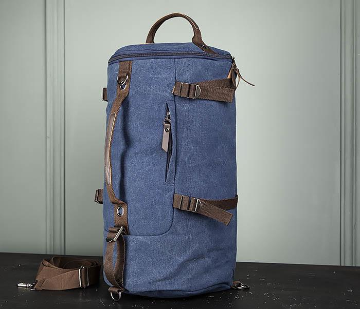 BAG309-4 Вместительная мужская сумка -рюкзак из ткани синего цвета фото 03