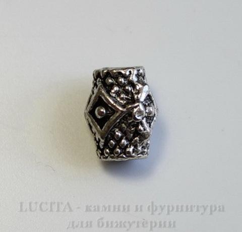"""Бусина металлическая """"Ромбики"""" 9х7 мм (цвет - античное серебро)"""