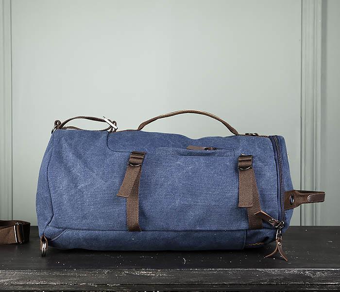 BAG309-4 Вместительная мужская сумка -рюкзак из ткани синего цвета фото 04