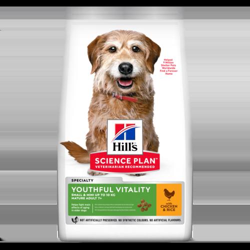 Hill's Корм для собак мелких пород старше 7 лет Hill`s Science Plan Youthful Vitality Mini, для борьбы с возрастными изменениями, с курицей и рисом sp-canine-science-plan-adult-7-plus-youthful-vitality-mini-with-chicken-and-rice-dry-productShot.png