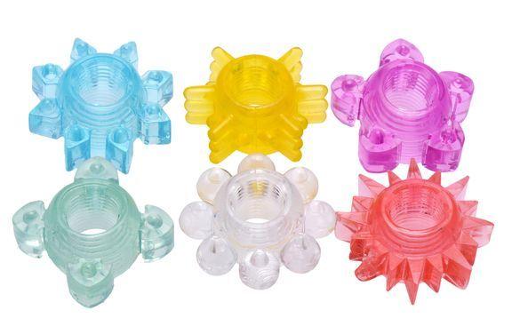 Эрекционные кольца: Набор из 6 разноцветных эрекционных колец Enhance 6 Piece Cock Ring Set