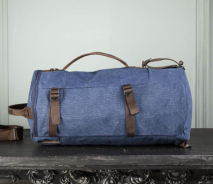 BAG309-4 Вместительная мужская сумка -рюкзак из ткани синего цвета фото 05