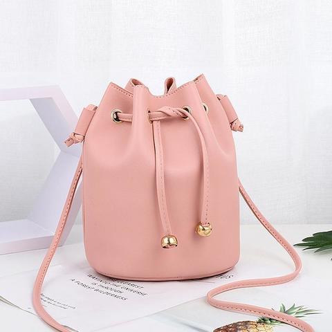 Сумка-мешок женская маленькая 26х22х14 см розовая 0992-4