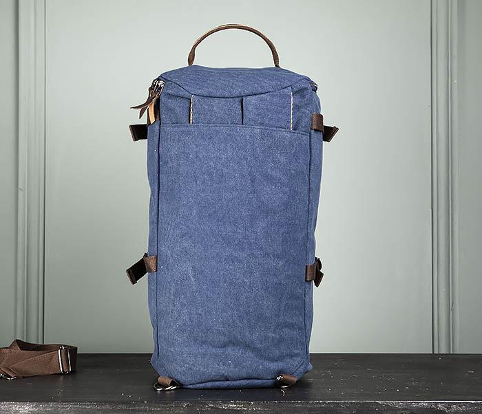 BAG309-4 Вместительная мужская сумка -рюкзак из ткани синего цвета фото 06