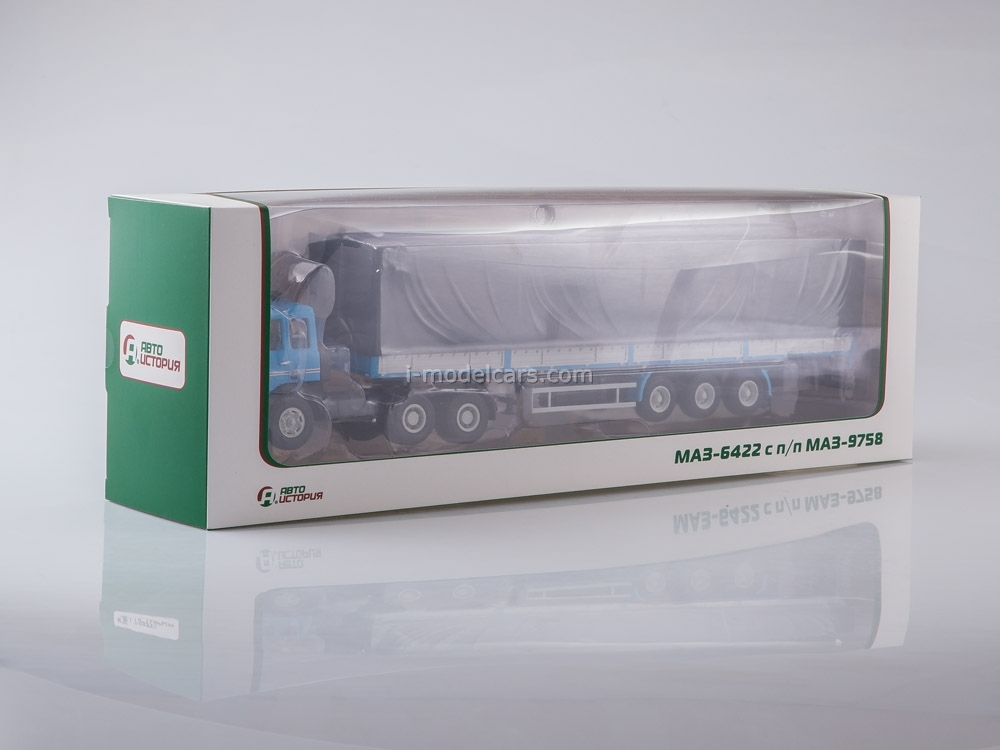 MAZ-6422 with three-axle semitrailer MAZ-9758 blue-gray 1:43 AutoHistory