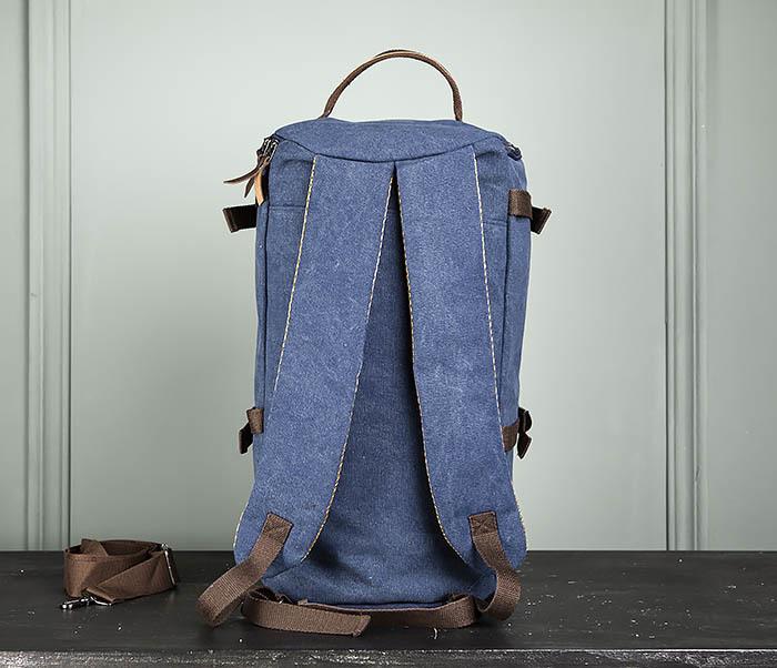 BAG309-4 Вместительная мужская сумка -рюкзак из ткани синего цвета фото 07
