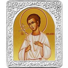 Святой Феликс. Маленькая икона в серебряной раме.