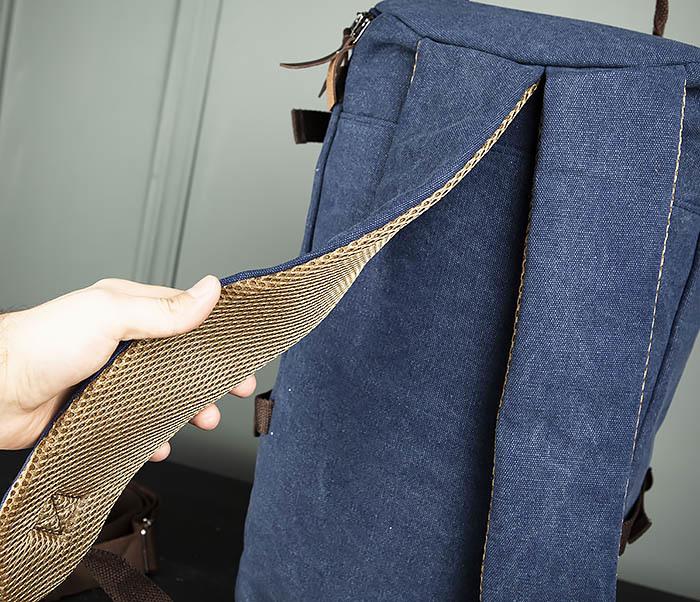BAG309-4 Вместительная мужская сумка -рюкзак из ткани синего цвета фото 08