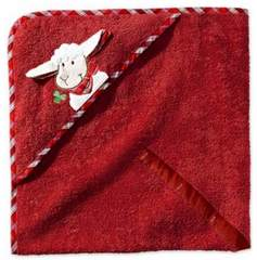 Полотенце детское с уголком 100х100 Morgenstern Sleepy Sheppy Farm Rot 2927 красное