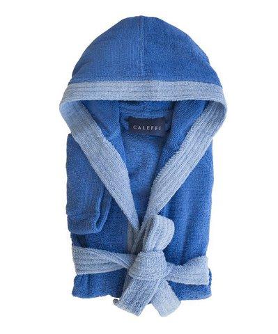 Элитный халат детский махровый Young синий от Caleffi