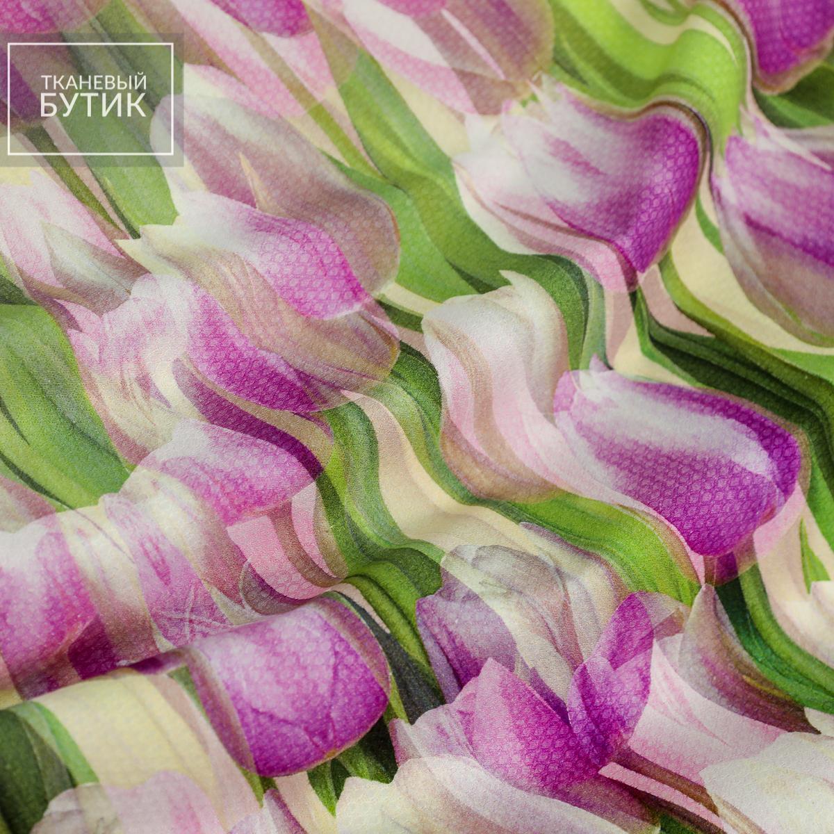 Фиолетовые тюльпаны на фактурном хлопке