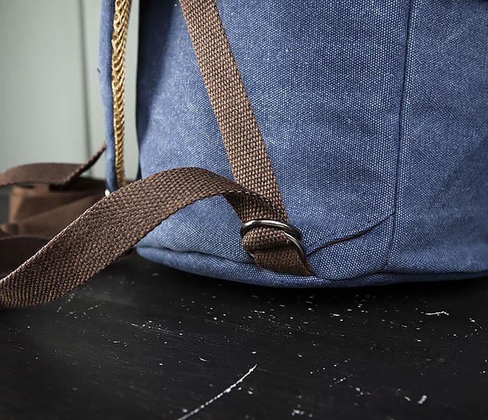 BAG309-4 Вместительная мужская сумка -рюкзак из ткани синего цвета фото 09