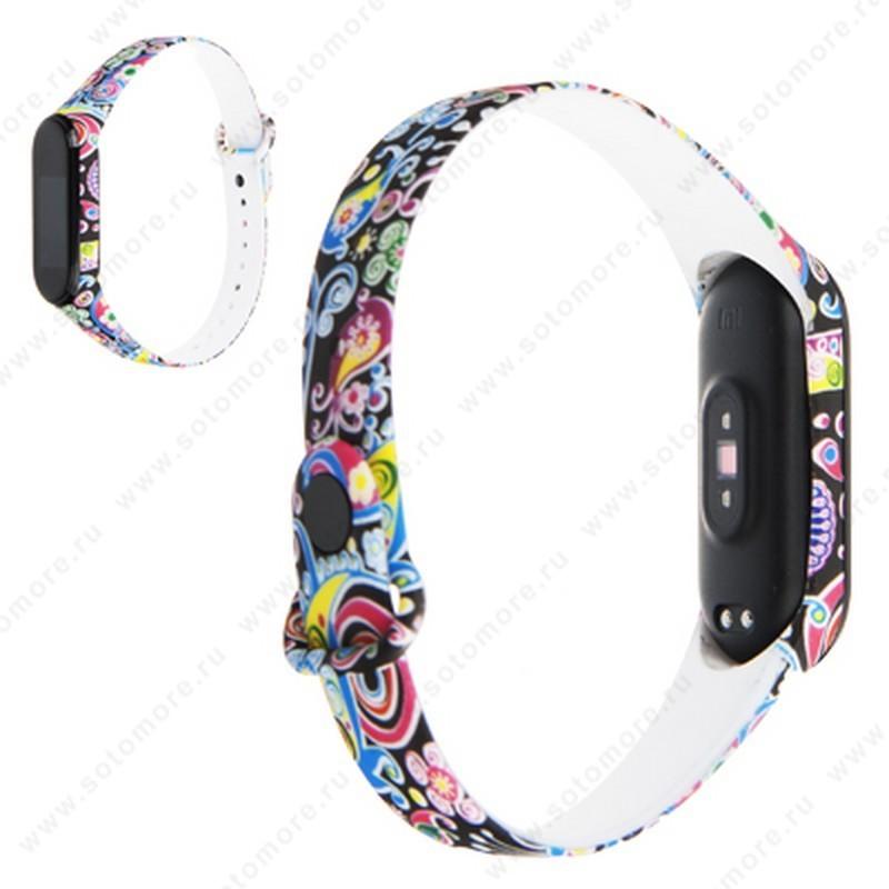 Ремешок для фитнес-браслет Xiaomi Mi Band 3/ 4 силиконовый с рисунком Вид 29
