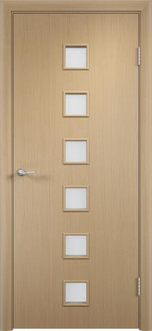 Дверь Сибирь Профиль Квадрат (С-9), цвет беленый дуб, остекленная