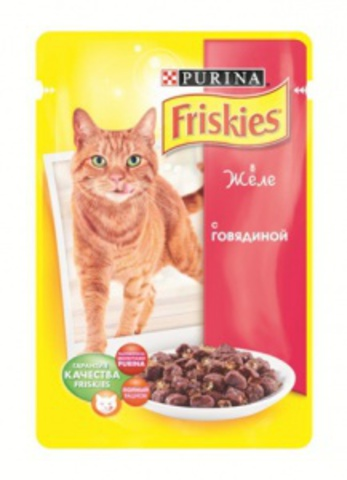 FRISKIES Adult Фрискис Эдалт паучи для кошек с говядиной в желе