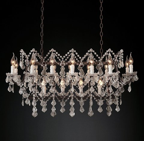 19th C. Rococo Iron & Clear Crystal Rectangular Chandelier 39