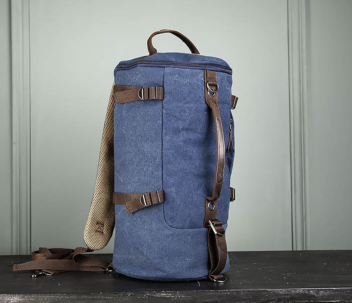 BAG309-4 Вместительная мужская сумка -рюкзак из ткани синего цвета фото 10