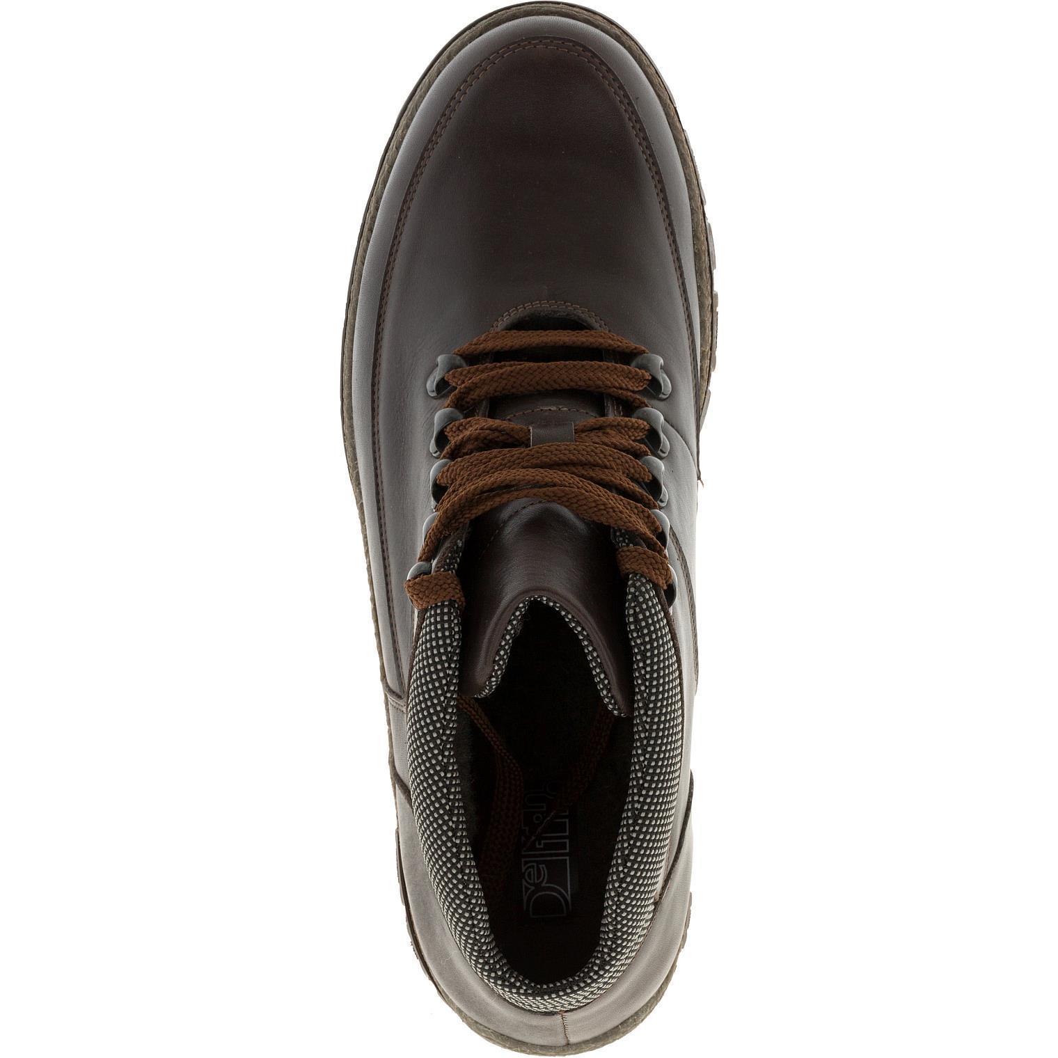 636316 Ботинки мужские коричневые кожа больших размеров марки Делфино