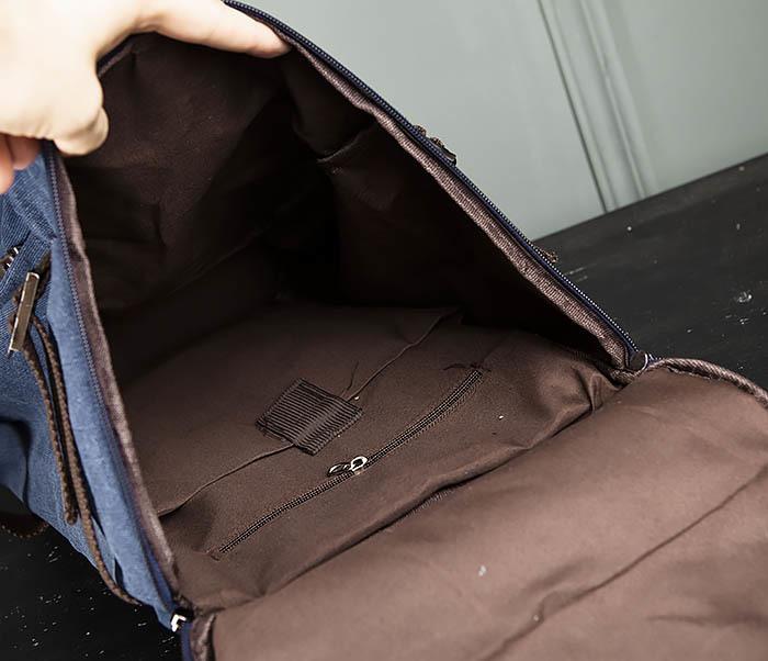 BAG309-4 Вместительная мужская сумка -рюкзак из ткани синего цвета фото 11