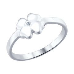 Кольцо из серебра с бриллиантом «Удача»