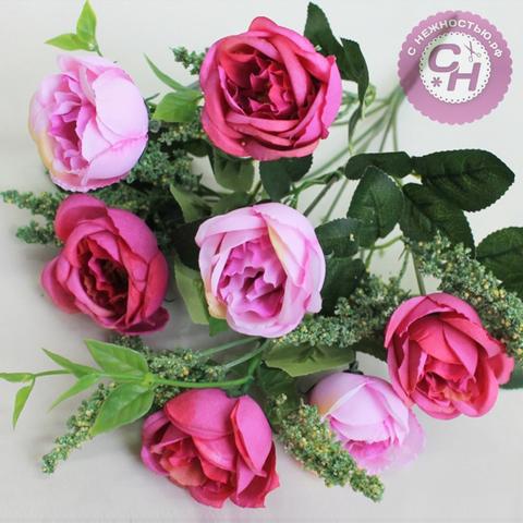 Розы искусственные пионовидные с добавкой, букет 7 голов, 37 см.