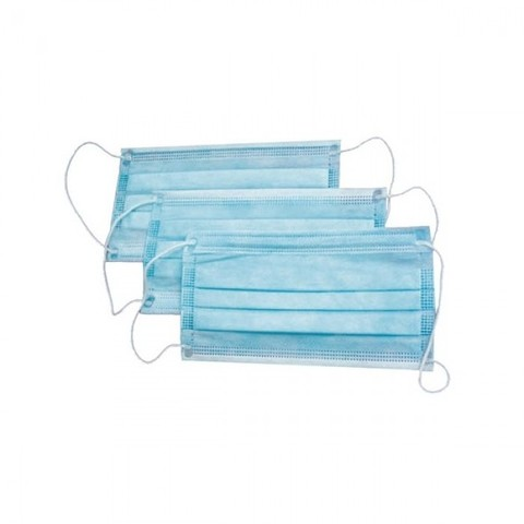 Маска 3х-слойная на резинках (голубой, 100 шт./упк.)