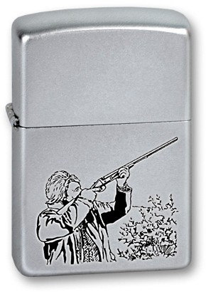Зажигалка ZIPPO Classic Satin Chrome™ с изображением охотника с ружьём ZP-205 Hunter
