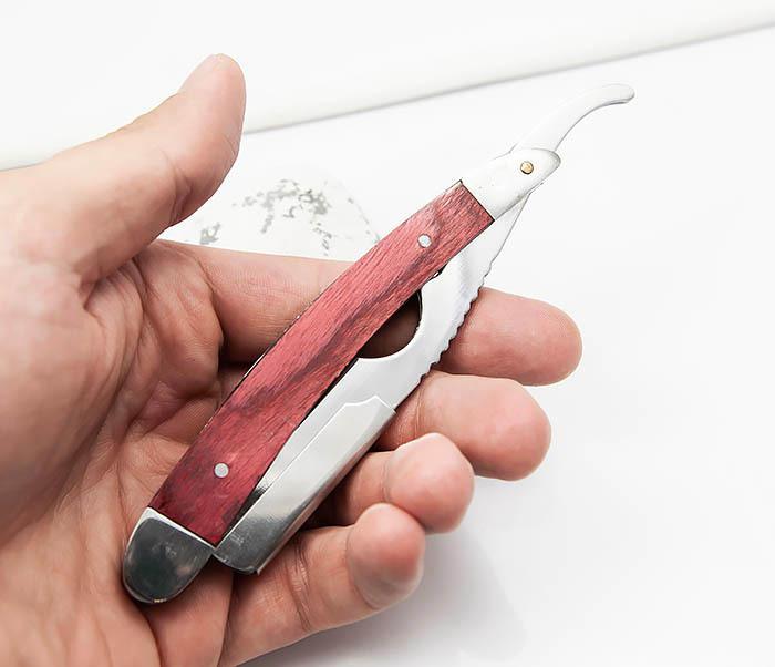 RAZ336-2 Бритва шаветка для сменных лезвий с деревянной ручкой фото 06