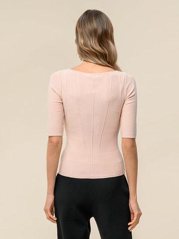 Женский джемпер светло-розового цвета с рельефными полосами - фото 2