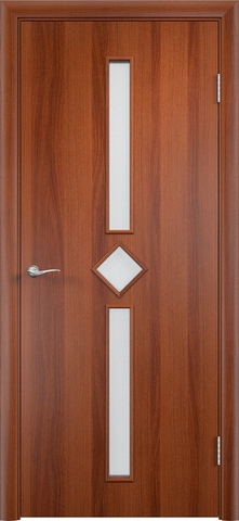 Дверь Сибирь Профиль Диадема, стекло хрусталик, цвет итальянский орех, остекленная