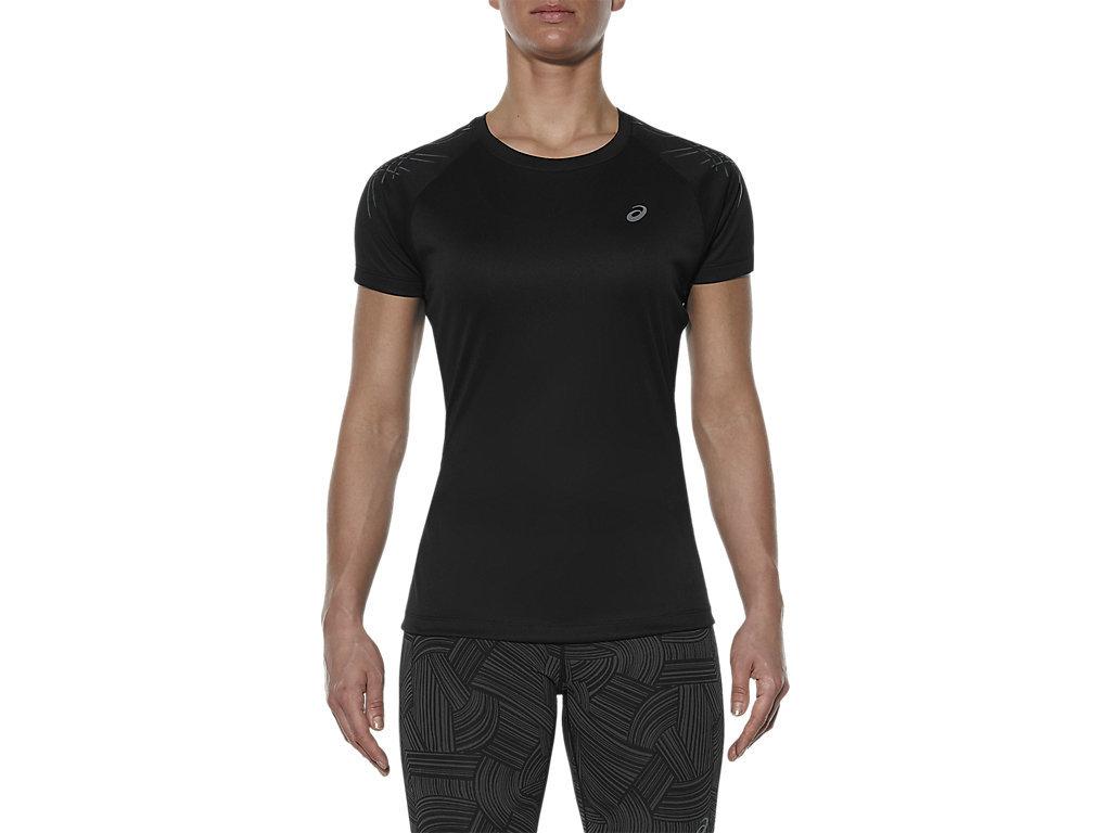 Женская футболка для бега Asics Stripe SS (126232 0905) черная фото