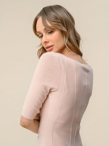 Женский джемпер светло-розового цвета с рельефными полосами - фото 4