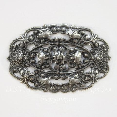 Винтажный декоративный элемент - филигрань 38х25 мм (оксид серебра)