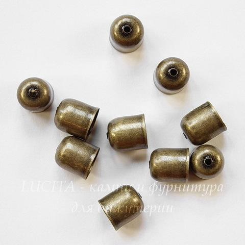 Концевик для шнура 7 мм, 9х8 мм (цвет - античная бронза), 10 штук