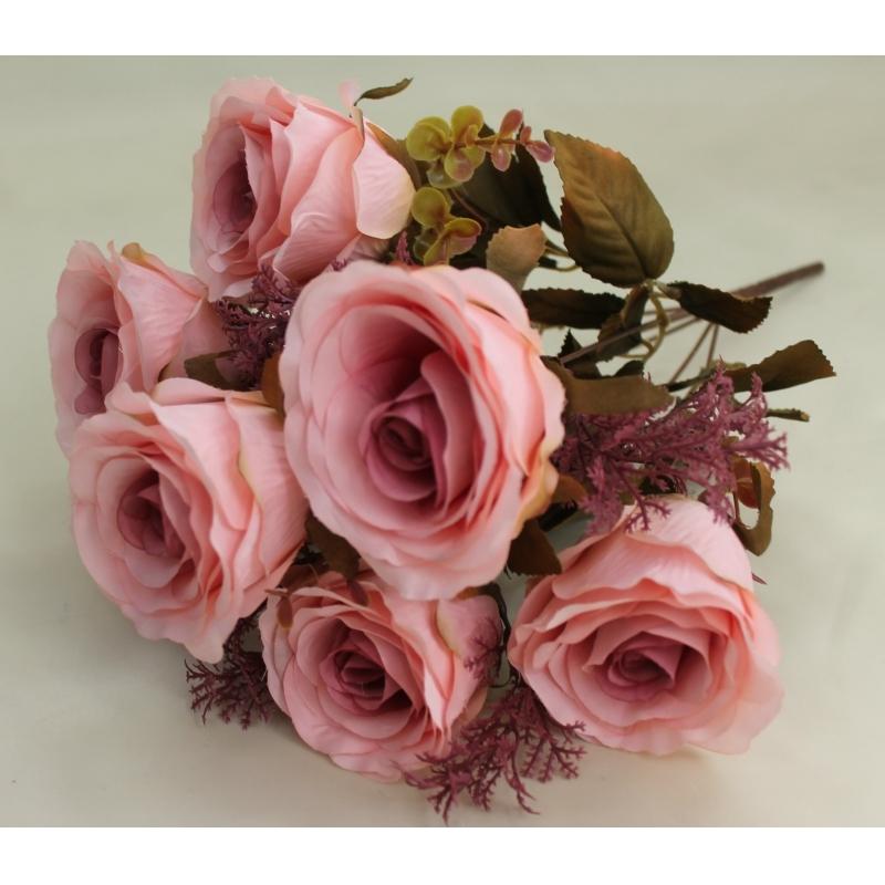Букет роз Евро с добавкой туи, 7 цветков, 9см.