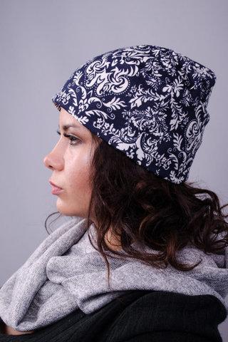 Фэшн. Молодёжные женские шапки. Синий орнамент.