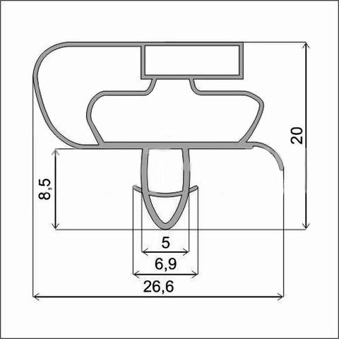 Уплотнитель 109*57 см для холодильника  Whirpool wbc 4046 a +nfcw (холодильная камера) Профиль 021(АНАЛОГ)