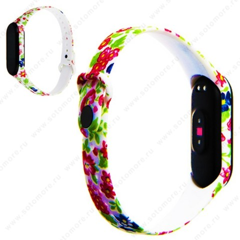 Ремешок для фитнес-браслет Xiaomi Mi Band 3/ 4 силиконовый с рисунком Вид 31