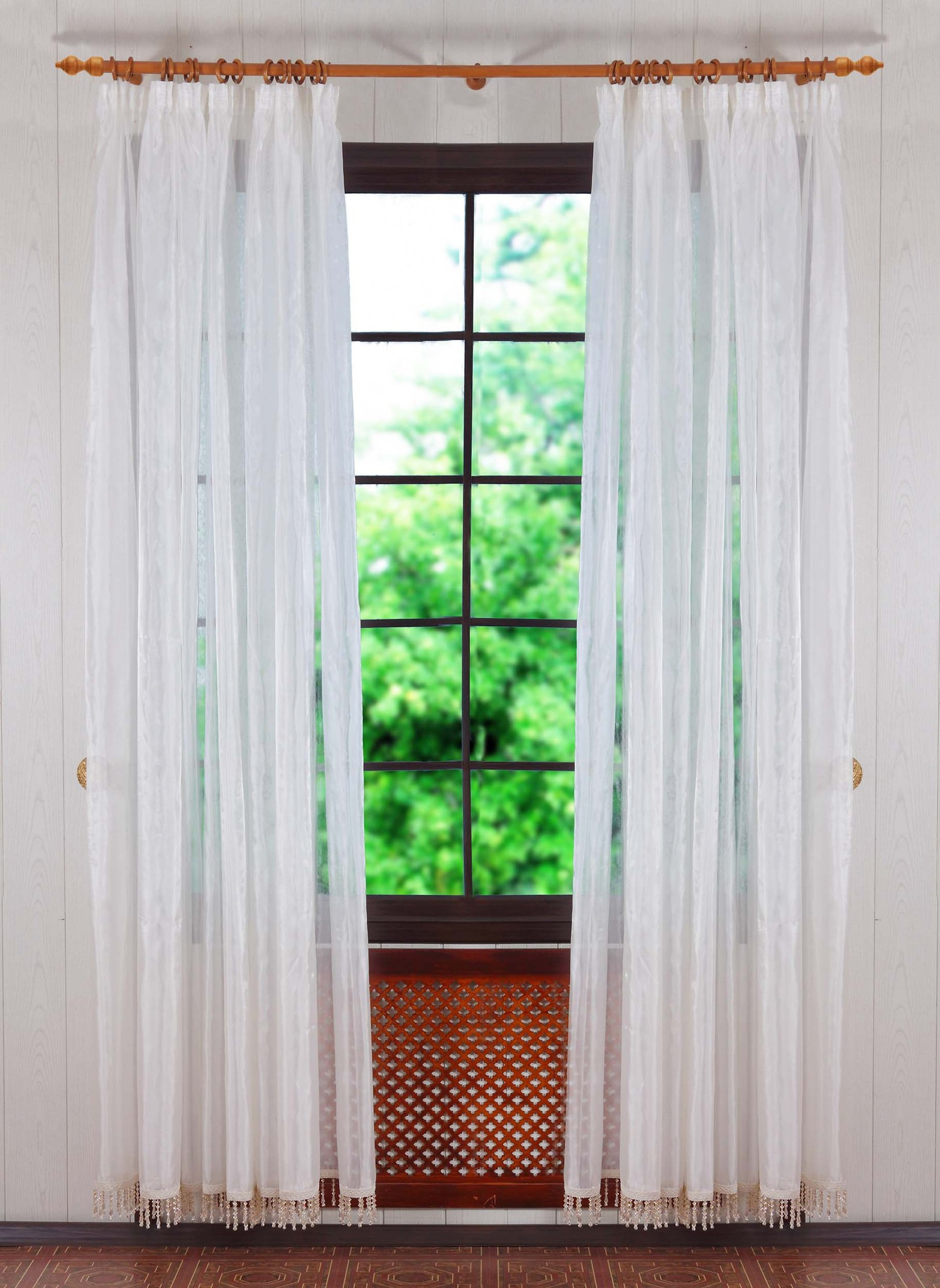 Тюль со стеклярусами. Businka-2 (крем)