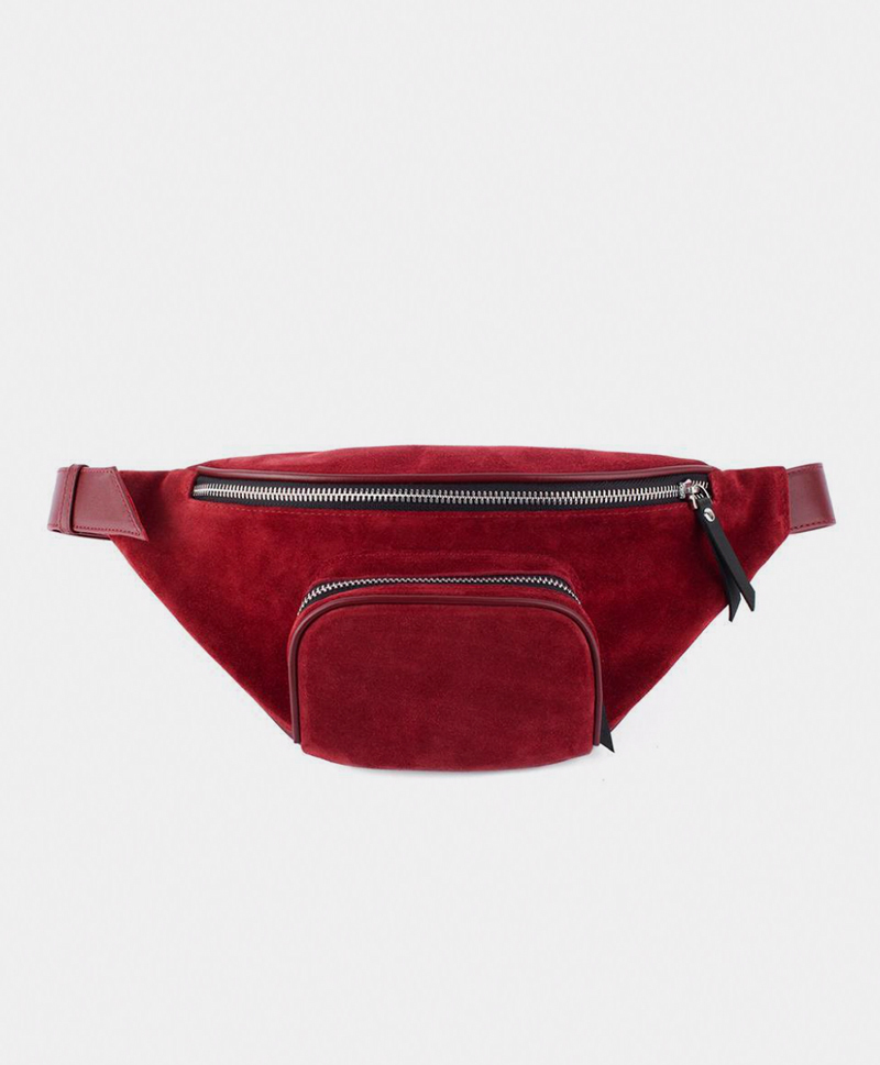 Поясная сумка из замши бордового цвета
