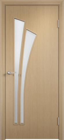Дверь Сибирь Профиль Лагуна (С-7), цвет беленый дуб, остекленная