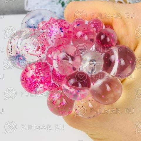 Игрушка-антистресс Виноград Mesh Savish Ball Розовая с блестками светится от удара