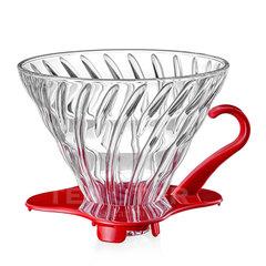 Воронка Hario 60, VDG-02r, стеклянная для приготовления кофе, красная