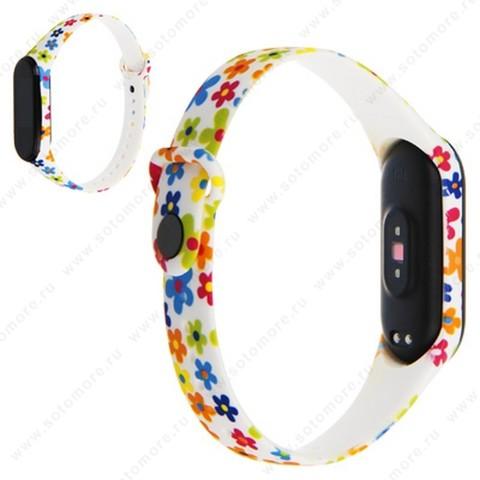 Ремешок для фитнес-браслет Xiaomi Mi Band 3/ 4 силиконовый с рисунком Вид 32
